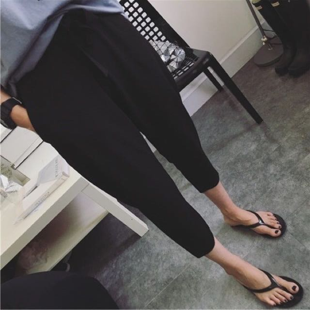 (全新)寬鬆 休閒 鬆緊抽繩八分褲 黑色哈倫褲