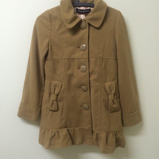 日 蝴蝶結 可愛 大衣 外套