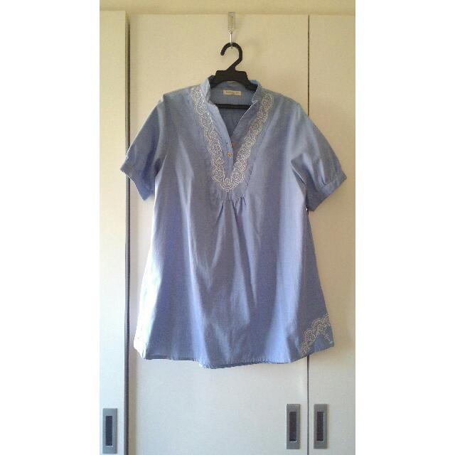日系 淺藍 單寧 上衣 洋裝
