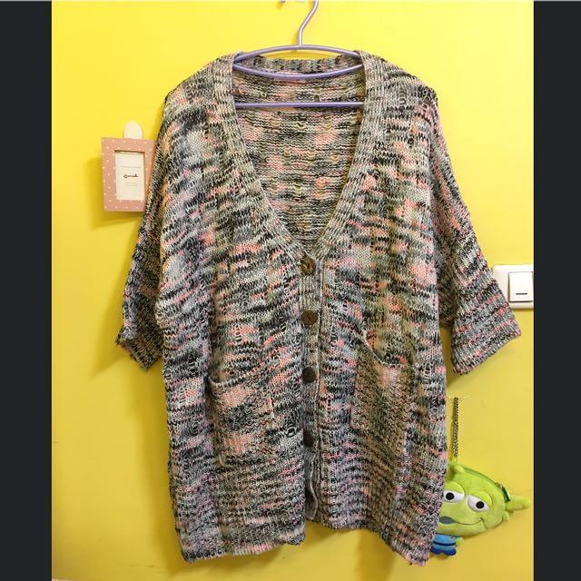 專櫃品牌 粉灰色針織長版V領罩衫