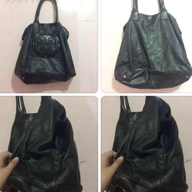 Authentic Tory Burch Tote Bag in A Black Leather