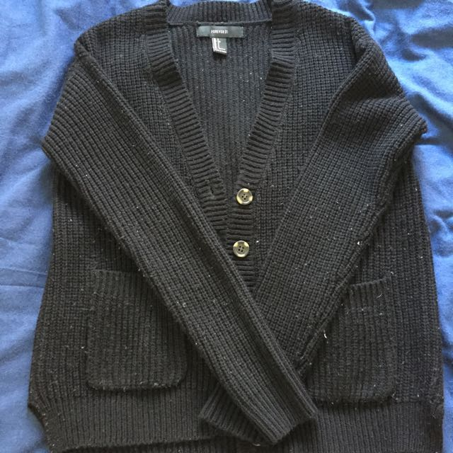 Black F21 Knitted Cardigan