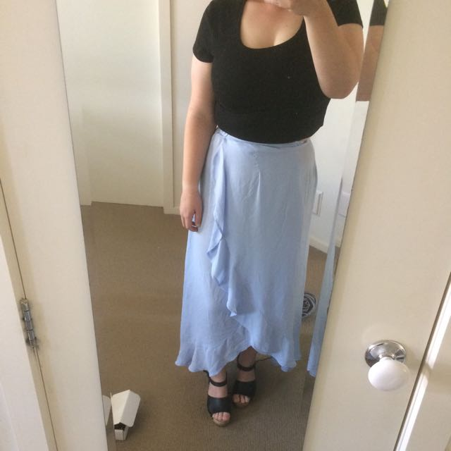 blue ruffled maxi skirt