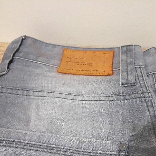 Celana Jeans Pull&Bear Original Warna Abu-Abu Ukuran 32 (PB Skinny)