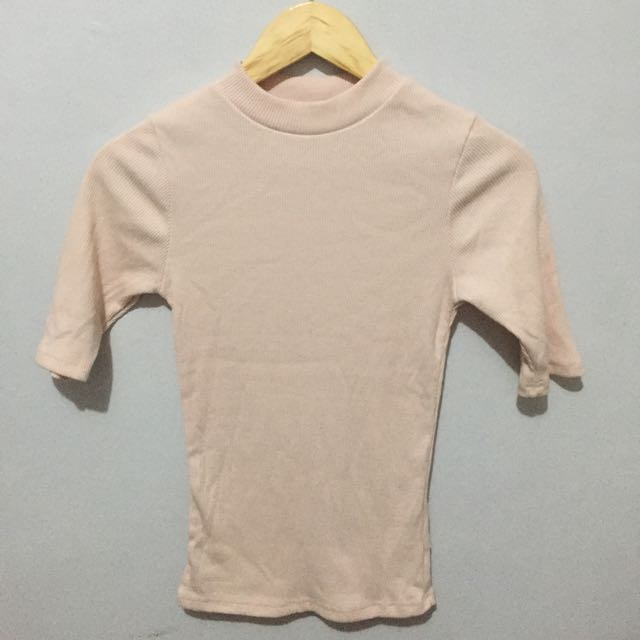cotton on blush ribbed turtle neck top