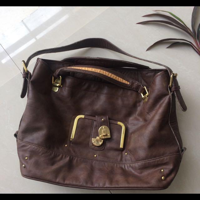 Faux Leather Ladies Bag (Brown)