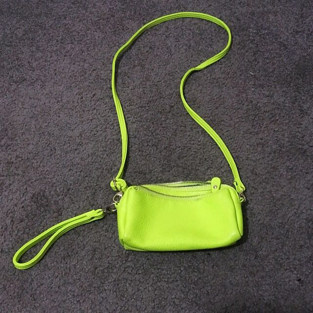 Green Small Bag With Long Strap