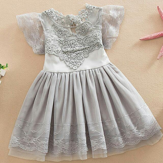 WAS $28, PRICE REDUCED TO $15 DUE TO STOCK CLEARANCE! Grey Lace Dress