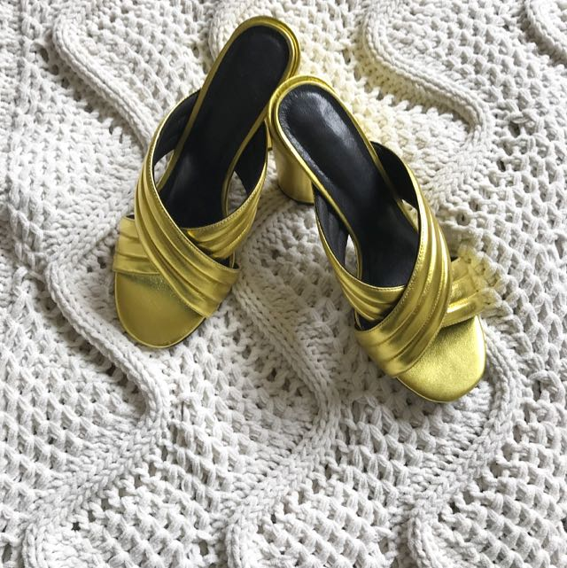 Gucci Inspired Jessica Buurman Gold Metallic Quilted Mules