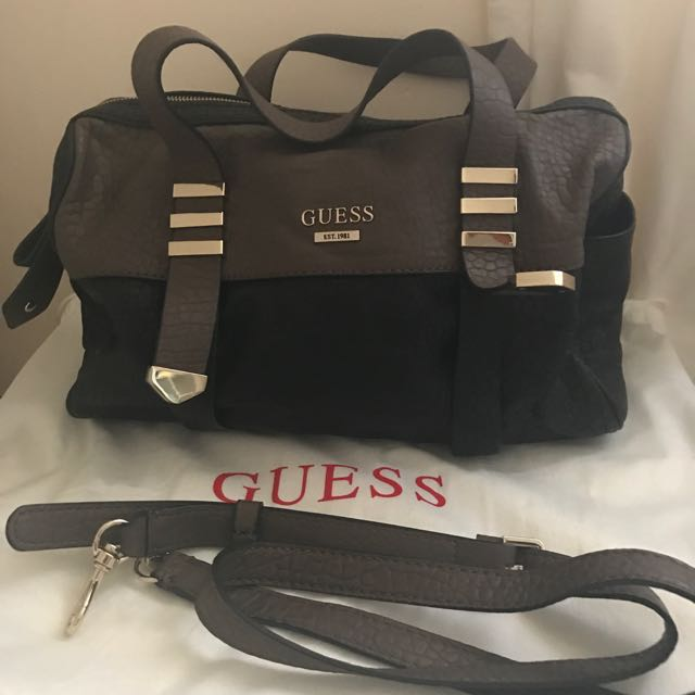 Guess Black And Brown Soft Textured PU Leather Handbag