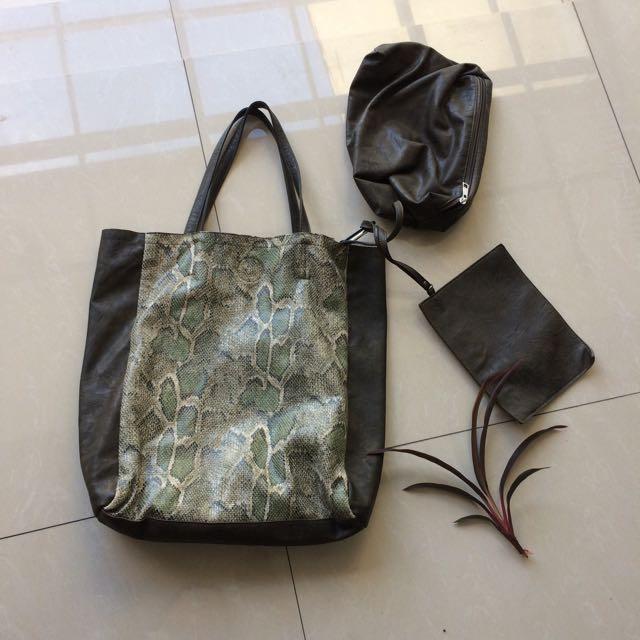 HER Snakeskin 3pc Tote Bag