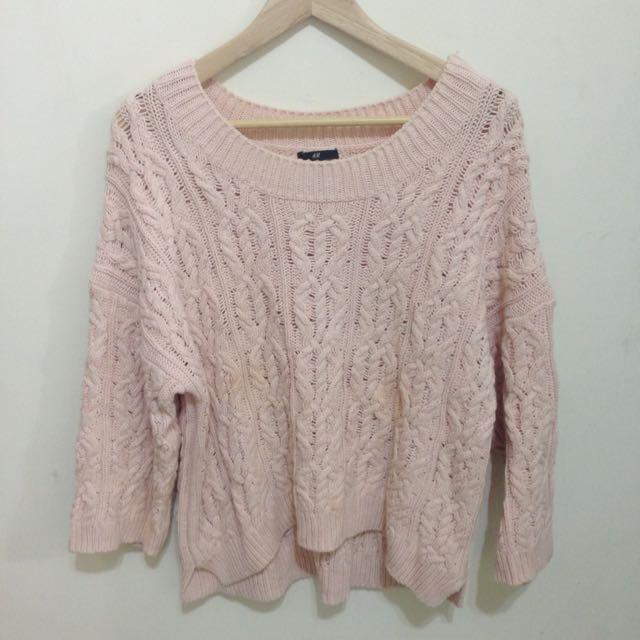 H&M 粉色毛衣