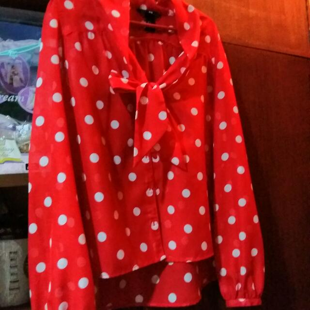 H&M Red Polka Dot Sheer Blouse