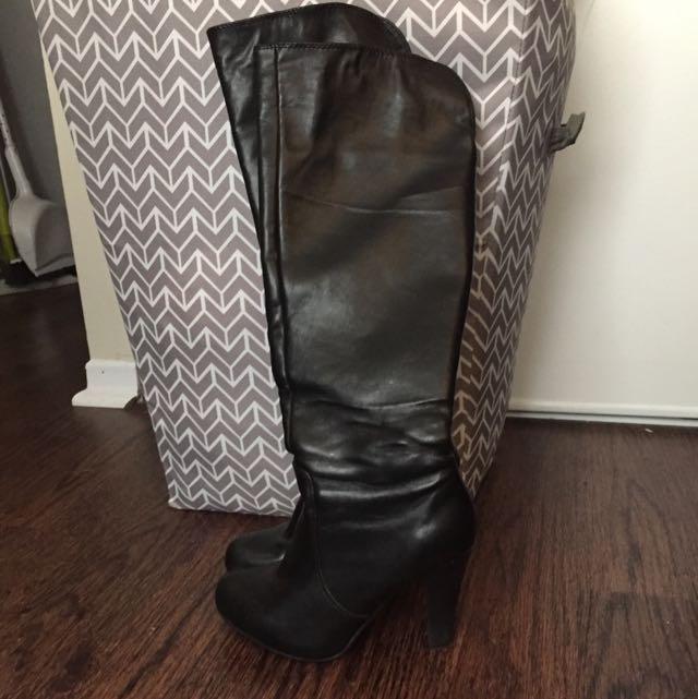 Knee High Black Heels