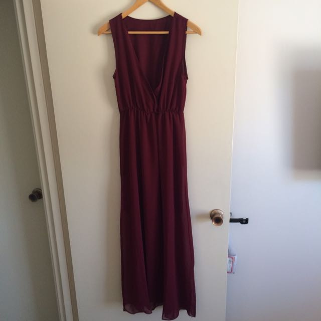 Maroon Chiffon Maxi Dress