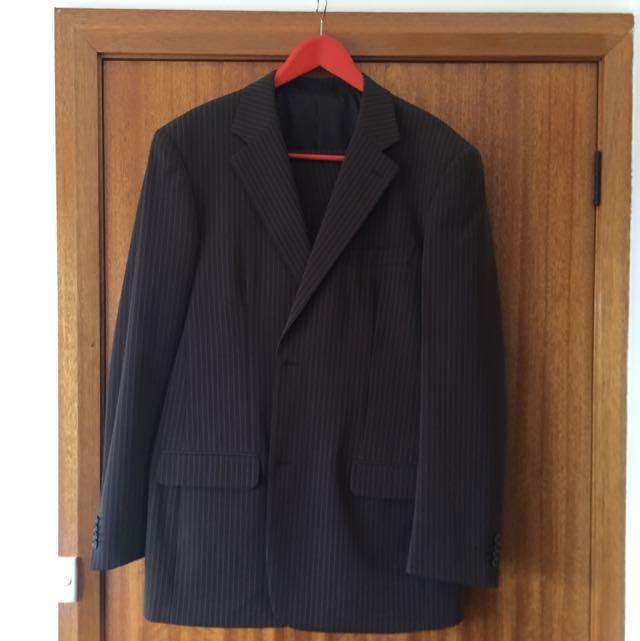 MATTINO Chocolate Brown Striped Suit
