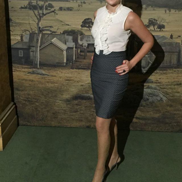 Natasha Gan Size 8 50s Style Dress Blue With White Polka Dots