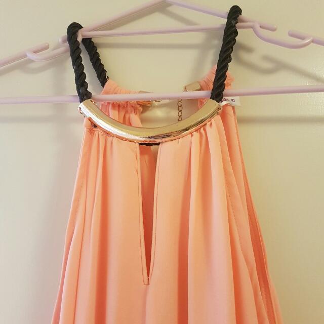 Orange Dress With Golden Neck Size 10