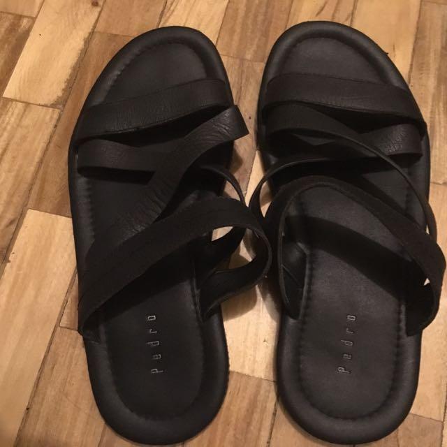 PEDRO Black Leather Slip Ons