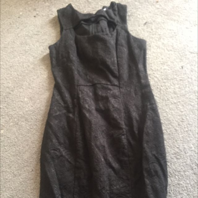 Revival Jacquard Black Fitted Dress 10