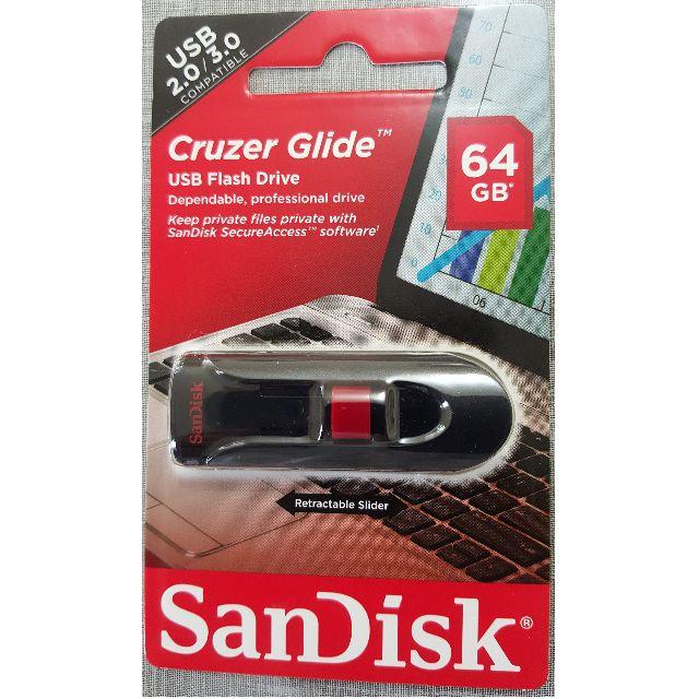 Sandisk Cruzer Glide 64G + Lanyard (SDCZ60-64G-B35)