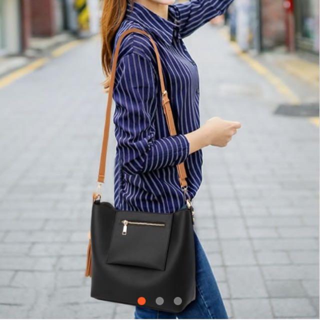 Sling with Pocket Design Leather Bag BLACK