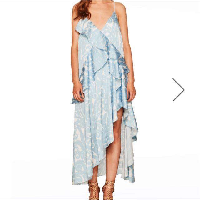 Talulah Blue Floral Slip Dress With Ruffles