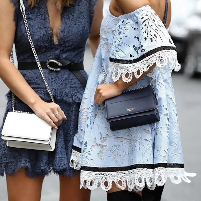 Talulah Off The Shoulder Blue Lace Dress