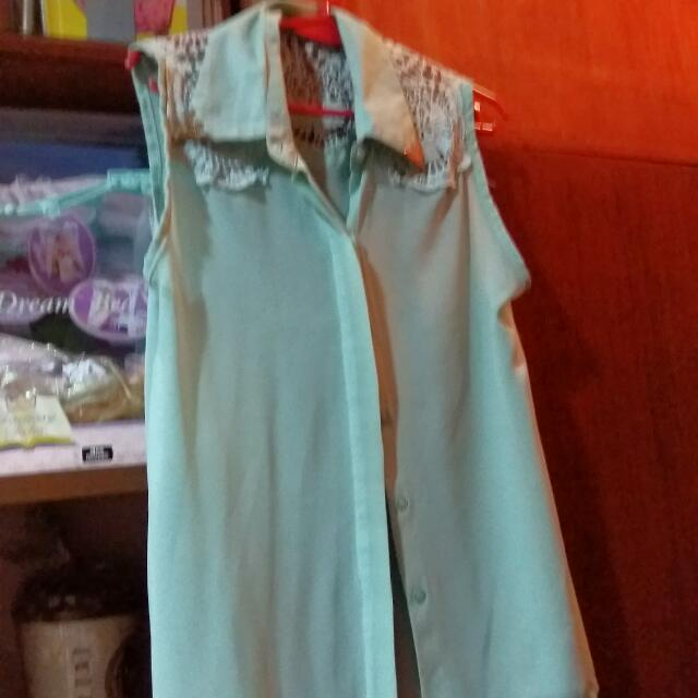 Teal Sheer Blouse With Laced Shoulders