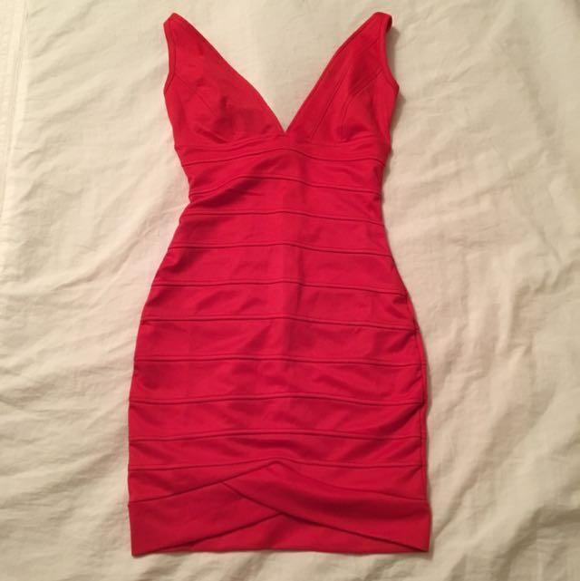 V-Neck Red Dress