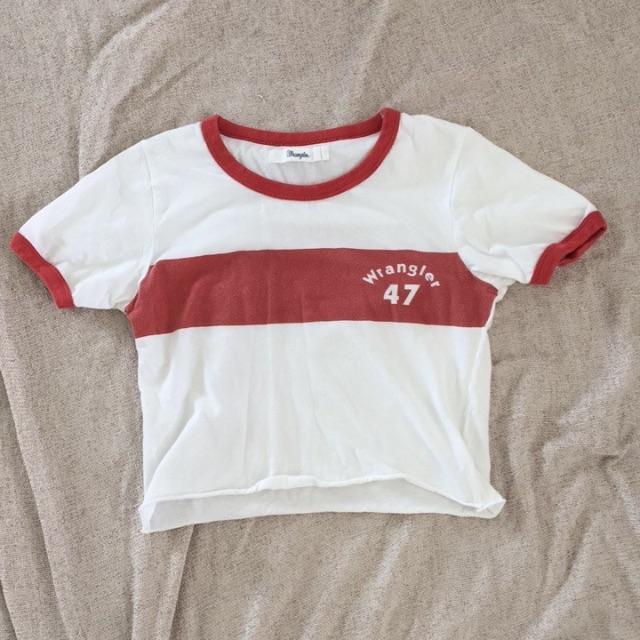 White & Red, Wrangler Cropped T-shirt