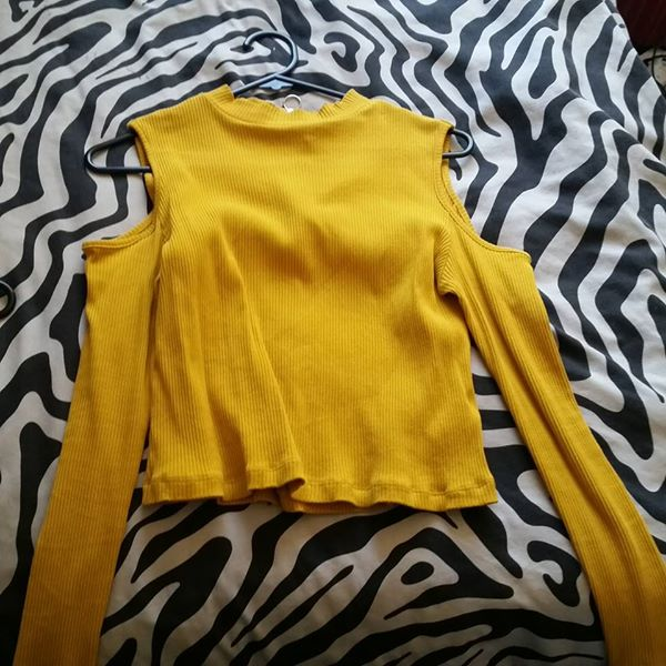 Yellow Cold Shoulder Top