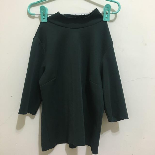 Zara-太空棉五分袖上衣(含運)