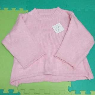 粉色寬袖針織上衣