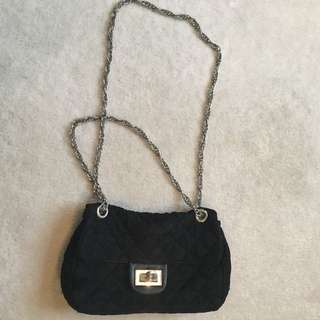 Black Lace Chanel Style Chain Bag