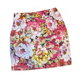 Stretchable Floral Bodycon Mini Skirt