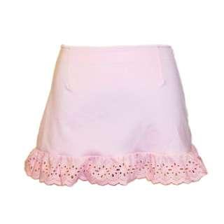 Pastel Eyelet Trimmed Bodycon Mini Skirt