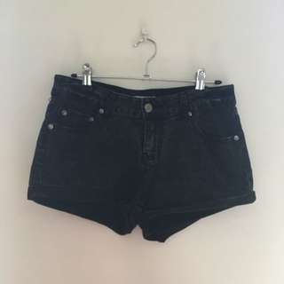 Acid Wash Shorts - Black