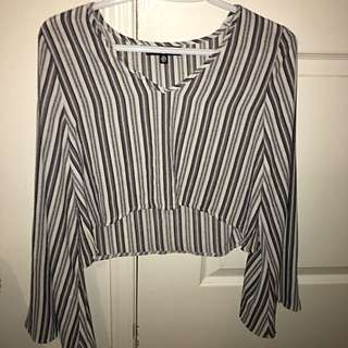 Misguided Bell Sleeve Crop Top