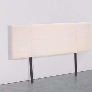 Linen Fabric Double Bed Headboard Bedhead - Beige