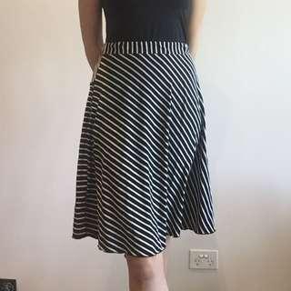 Skirt - Black And White Strip - Metalicus