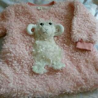 立體綿羊長版毛衣(約適合1~1.5y)