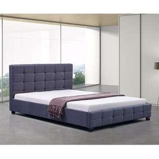 Linen Fabric Queen Deluxe Bed Frame Grey