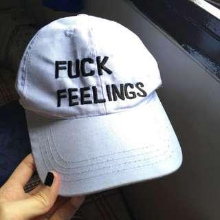 fck feelings white cap