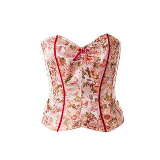 Betsey Johnson New York Oriental Floral Silk Bustier Top