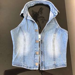 Lee Denim Low Back Holter Neck Size 8