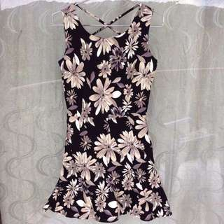 Slim Waist Floral Dress