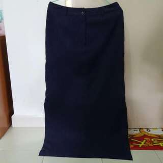 Navy Blue Denim Office Long Dress