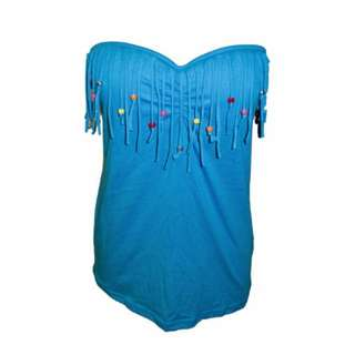 Strapless Blue Boho Color Beaded Fringes Bustier Top