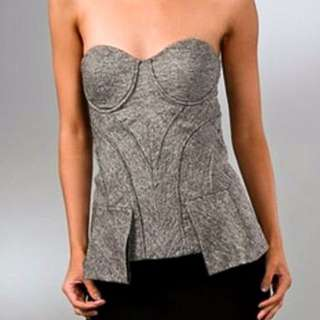 Authentic Gwen Stefani LAMB Grey Tweed Bustier Top